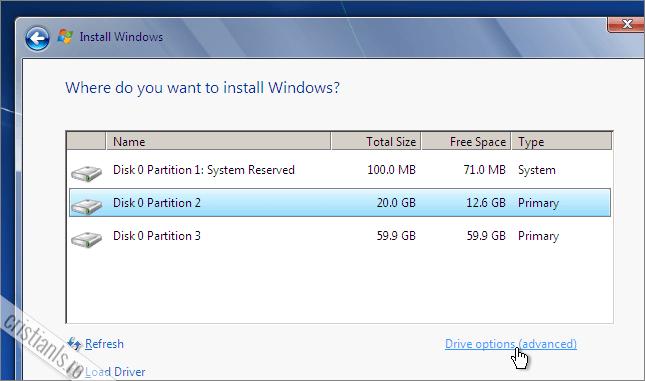 formatarea partitiei in care este instalat sistemul de operare