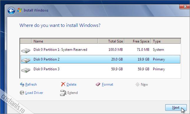 instalarea sistemului de operare Windows 7 in partitia selectata