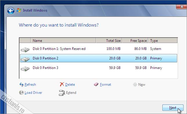 porneste instalarea propriu-zisa a windows 7