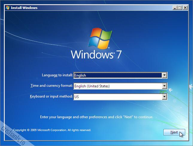 primul pas la instalarea windows 7 alegerea limbii