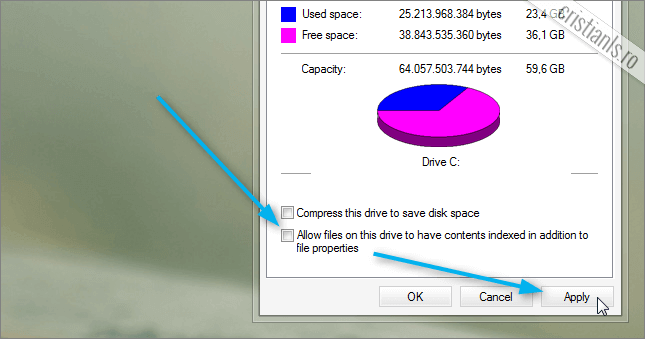 Allow files on this drive to have contents indexed in addition to file properties