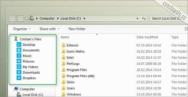 Favorites Windows Explorer