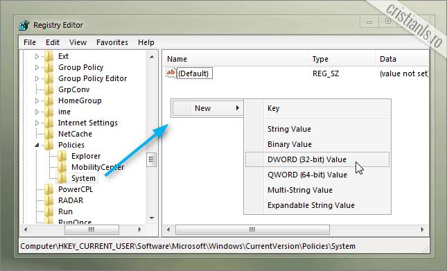 Noua valoare DWORD in cheia System