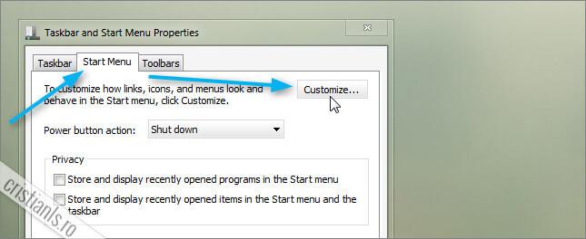 Personalizarea meniului Start