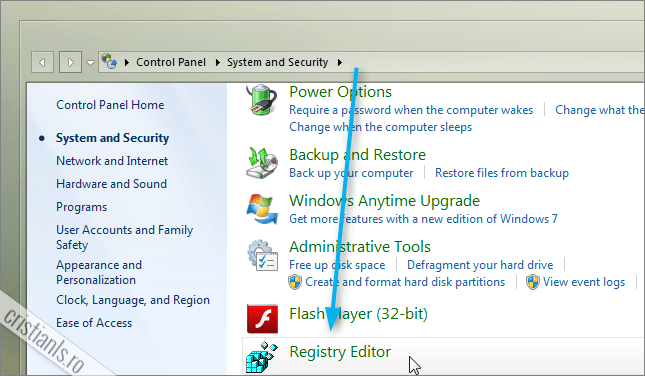 Registry Editor adaugat in Control Panel