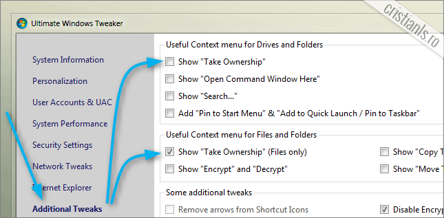 Take Ownership cu Ultimate Windows Tweaker