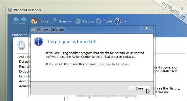 Windows Defender a fost dezactivat