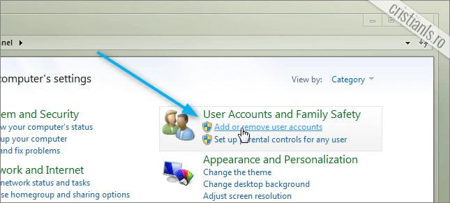 adauga sau elimina un conturi de utilizator