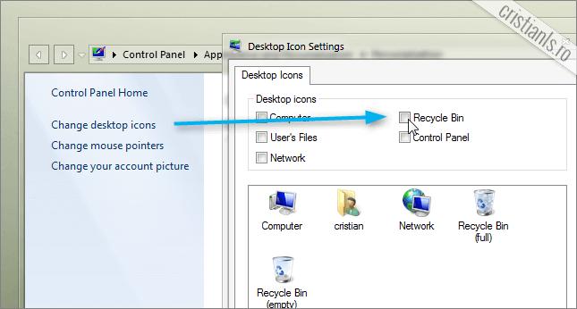 afisare Recycle Bin pe Desktop