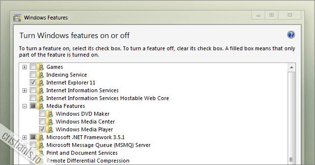 Cum se dezactiveaza caracteristicile Windows nefolositoare