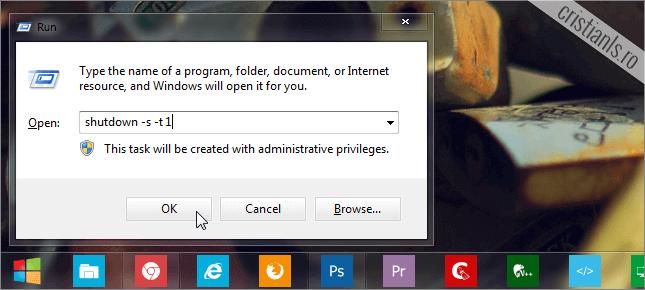 comanda de oprire rapida a calculatorului