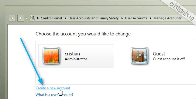 creare cont nou de utilizator