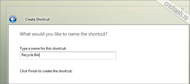 dati numele recycle bin shortcut-ului creat
