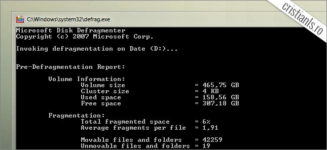 defragmentare disk in linia de comanda