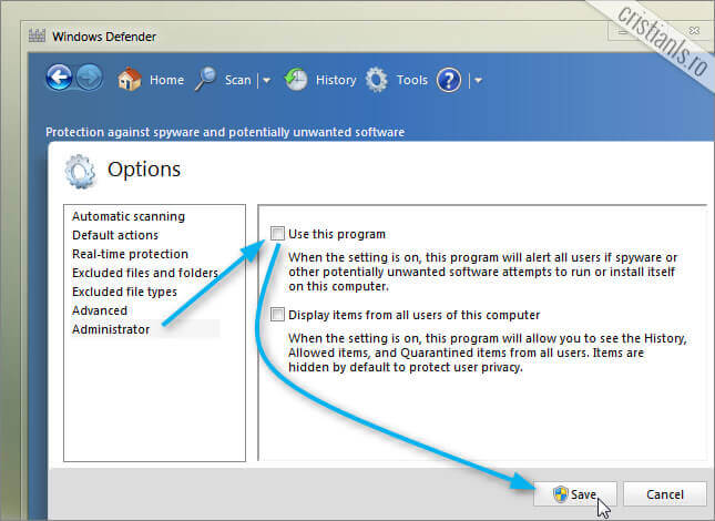 dezactivare Windows Defender