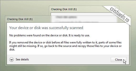 dispozitivul a fost scanat si nu au fost găsite probleme