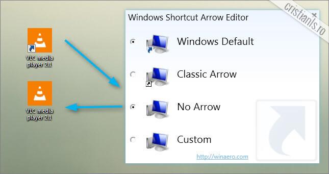 elimina sageti shortcuts