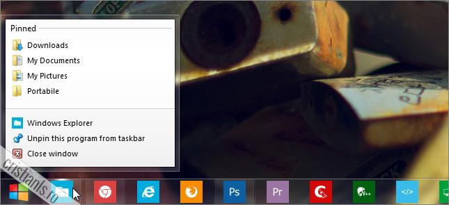 foldere fixate in taskbar
