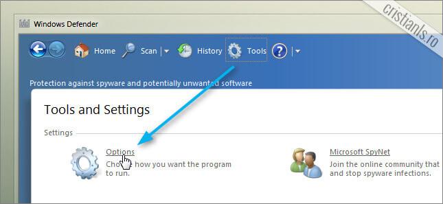 Tools » Options (Windows Defender)