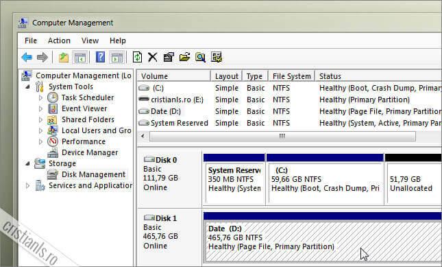partitia D se afla pe un hard disk secundar