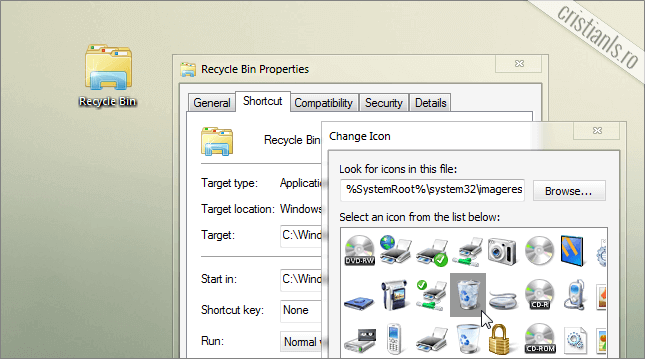 personalizare iconita recycle bin