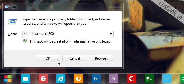 programeaza oprirea calculatorului dupa 30 minute