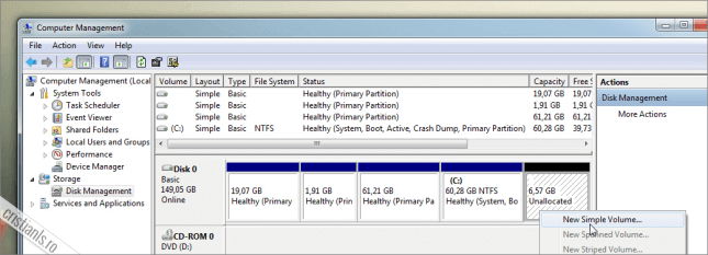 spatiu nealocat pe hard disk