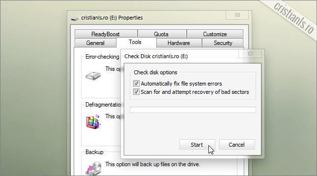 verificarea erorilor Hard Disk-ului