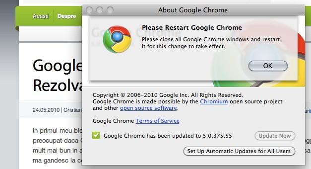 Google Chrome versiune stabila Mac OS X