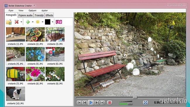 Slideshow Creator - program de făcut filmulete din poze, cu muzică de fundal