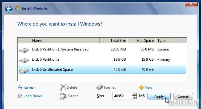 Manual de instalare Windows 7 - crearea partiției D alocand acesteia spațiul liber rămas