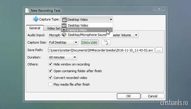 new recording task » capture type » camera video