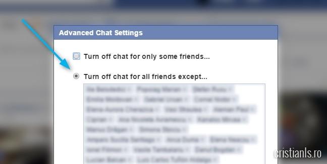 invizibil pentru toti prietenii de pe facebook