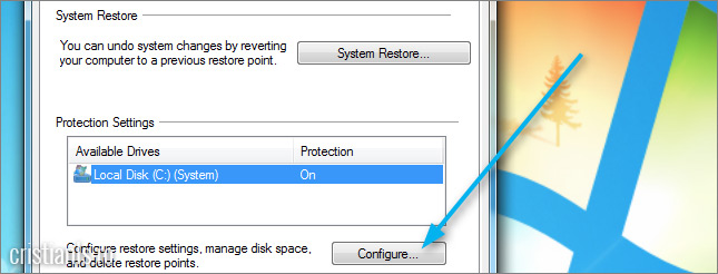 System Properties » System Protection » Protection Settings » Configure
