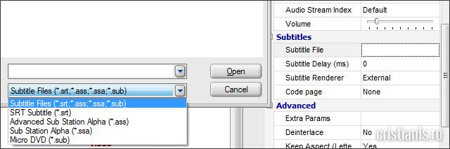 functie de adaugare a subtitrarilor