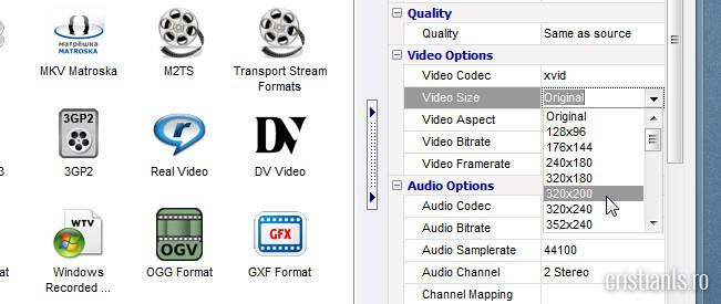 rezolutie iesire clip video procesat
