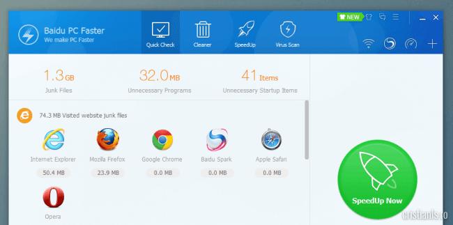Rezultate analiza Baidu PC Faster