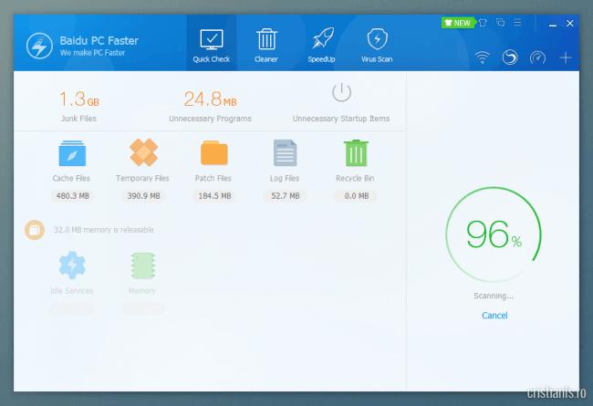 Scanare si optimizare rapida cu Baidu PC Faster