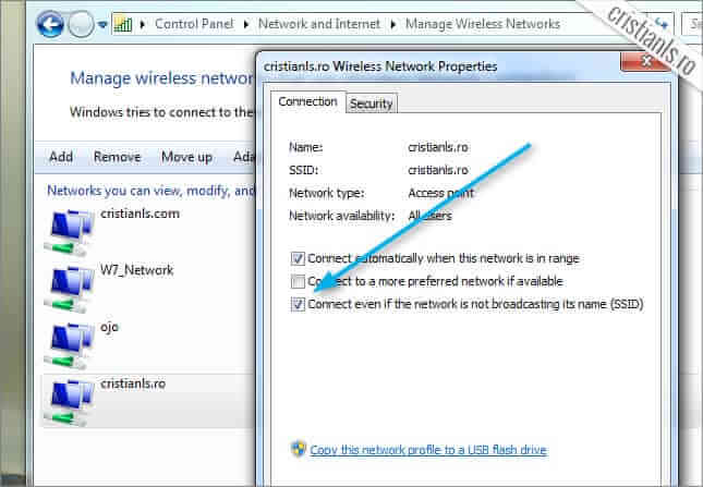 Connect even if the network is not broadcasting its name (SSID)