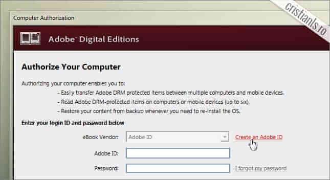 autorizarea computerului - crearea Adobe ID