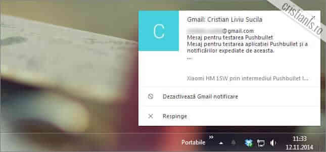 notificare android in pc