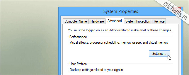system properties » advanced » settings
