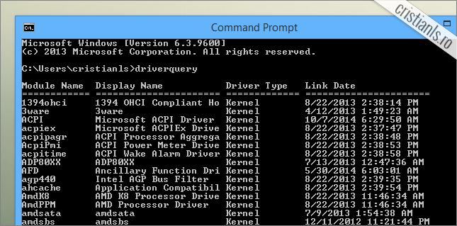 afiseaza lista driverelor instalate in calculator