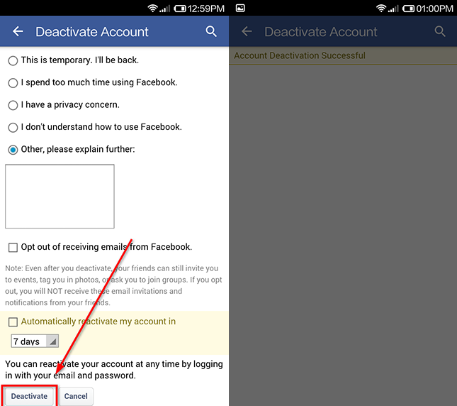 contul de facebook a fost sters