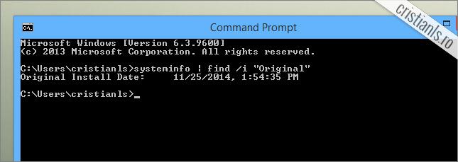 data instalarii sistemului de operare