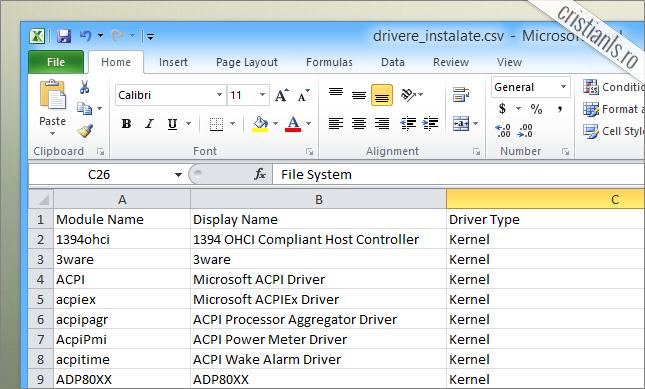 lista tuturor driverelor instalate in computer in excel