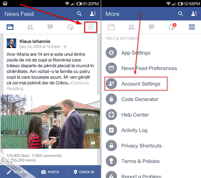 sterge cont facebook » setari » account-settings