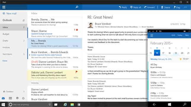 Outlook tablete Windows 10