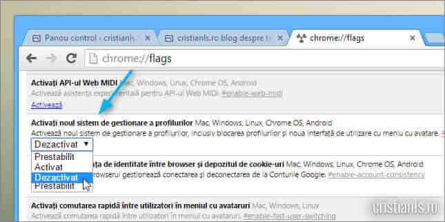 dezactivare afisare profil utilizator google chrome