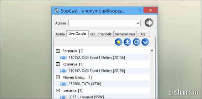 posturi tv in lista de canale tv a sopcast
